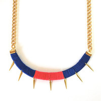Statement necklace with spikes and bulky chain, tribal blue and pink necklace