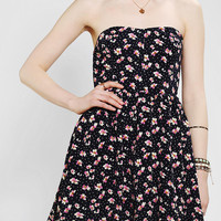 Lucca Couture Strapless Floral Chiffon Dress