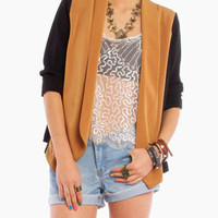 Color Block Open Blazer in Camel Black