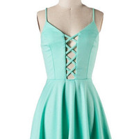 Peek Chic Cutout Dress - Mint -  $42.00 | Daily Chic Dresses | International Shipping