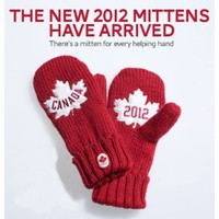 Canada Olympic 2012 RED MITTS Mittens HBC Adult L/XL Size New Version