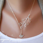 Bud Branch and Little Bird Lariat - silver grey white dainty pendants - sterling silver chain - morganprather