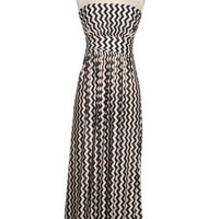 Shape Up & Ship Out Chevron Maxi Dress - Black + Ivory -  $59.00 | Daily Chic Dresses | International Shipping