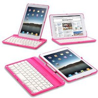 Exact 360 Degree Rotation Bluetooth Keyboard with Aluminum Shelf for IPAD MINI Pink