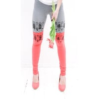 Coral pink tulip leggings by ZIBtextile on Etsy