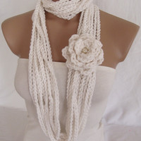 Crocheted Scarf, Infinity Rope Scarf, Chain Scarf (White) by Arzu&#x27;s Style