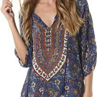 TOLANI SASHA DENIM PRINTED TUNIC | Swell.com