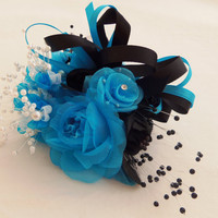 Wrist Corsage Wedding- Prom- Homecoming Turquoise and Black Wrist-let