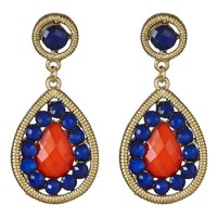 Peacock Earrings in Navy