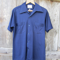 70s/80s Navy Blue Button-up Shirt by Arrow, Men&#x27;s M // Vintage Short Sleeve Summer Shirt