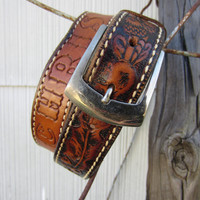 Vintage Brown Tooled Western Leather Belt Name &quot;Chris&quot;, 73-83 cm / 28-33 in // Cowboy Belt // Name Belt