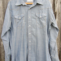 70s Pale Blue Wrangler Denim Style Cowboy Shirt, Men&#x27;s M-L  // Vintage Country Western Shirt