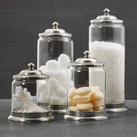Apothecary Pewter &amp; Glass Bath Jars