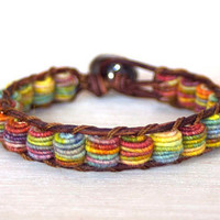 Boho Leather Bracelet, Shabby Chic, Fabric Textile Beads, RAINBOW