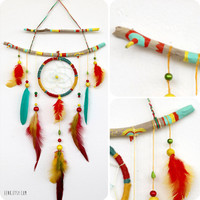 The Shaman's Journey- A Native Rasta Dreamcatcher Feather Mobile