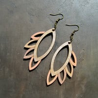Lasercut Hand Painted Wooden Geometric Earrings: Peachy Dream