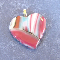 Pink Heart Pendant, Mothers Jewelry, Handmade Pendant, Fused Glass Jewelry - Ladonna - 4119 -3