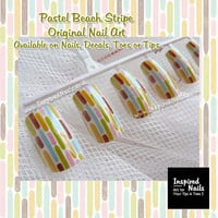 Pastel Beach Stripe Nail Art on Artificial Nails by InspiredNails