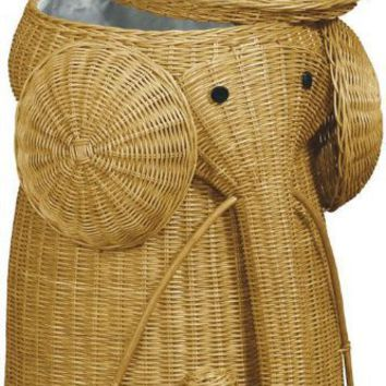 "Rattan Elephant Hamper, 22""Hx14""D, HONEY"