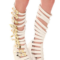 Jeffrey Campbell Shoe Lilith Leather Gold and White