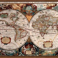 17th Century World Map (Antique) Art Poster Print - 24x36 Poster Print, 36x24 Poster Print, 36x24