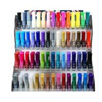 60 Pcs Trendy Nail Polish Nail Lacquers (Nail Art Brush Style) Combo Set + 6 Sets of Flower Scented Nail Polish Remover