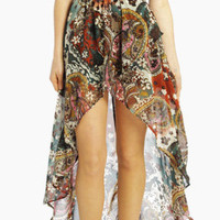 Floral Overlapping Open Front Skirt