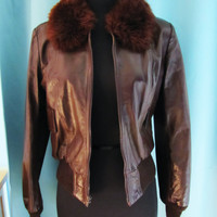 vintage dark brown leather bomber with faux fur collar. by Dr. Jacket & Mr. Hyde. Hideaway. made in Mexico. size XS to S. flight jacket