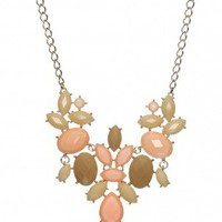 Stunning Stained Glass Necklace in Peach