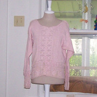 1980s Crocheted Long Sleeved Pink Sweater