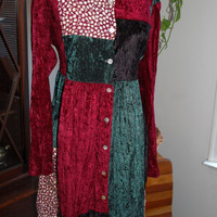 1990s Jonathan Martin Boho / Hippie / Grunge / Patchwork dress / Womens Size Large - XL / Burgundy Green & Black / Velveteen Material