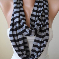 Mother's Day Gift - Gray and Black Striped Infinty - Circle -  Loop Scarf - Combed Cotton Fabric