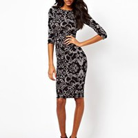ASOS Midi Bodycon Dress In Baroque Print at asos.com