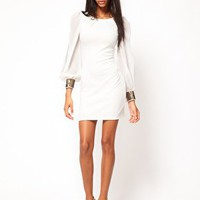ASOS Bodycon Dress with Embellished Chiffon Sleeve at asos.com