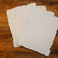 4 sheets of handmade recycled paper white by TheVintageCountry