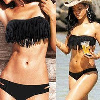 Top and bottom Two Set Black Sxey Bikini