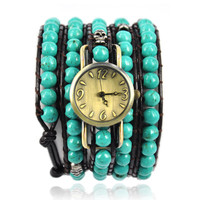 Handmade Turquoise Beads Green Wrap Watch