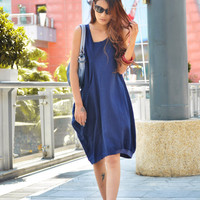 Lagenlook Summer Dress in Deep Blue Single Big Pocket Linen Sundress for Women  - NC053