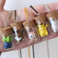 Pokémon Necklace - Oddish, Eevee, Jigglypuff, Pikachu, Clefairy - TOYS in a BOTTLE - Mix and Match colors