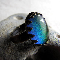 Rainbow Sparkle Ring  Steampunk Mystic Glitter by AshleySpatula