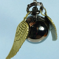 Enchanted Black Snitch WATCH necklace Double side wings harry potter