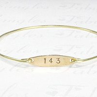 Gold 143 I Love You Bangle Bracelet, Stamped Gold Disc Charm Stackable Bangle, Personalized Love You Jewelry, Numerical I Love You Bracelet