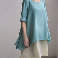 light blue dress Two Layers chiffon shirt dress Flowing chiffon Sundress
