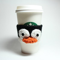 Penguin coffee cozy- crochet cup sleeve- animal cozy
