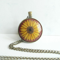 Sunflower Pendant - Art Flower Necklace - Hand Painted Wood Arts and Crafts - Gift Idea