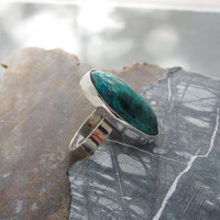 Gemstone Ring, Chrysocolla in Sterling