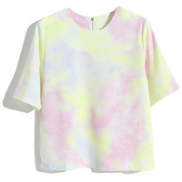 ROMWE | Pink Tie-dye T-shirt, The Latest Street Fashion