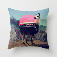 Llama Throw Pillow by Ali GULEC