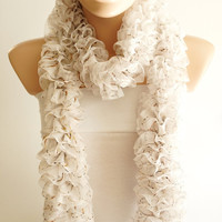 NEW NEW Tulle Ribbon Cream and Ivory with Ribbon Ruffles Scarf