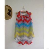 Color wave grain vest